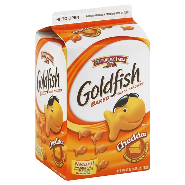Goldfish baked snack crackers cheddar large box be my for Gold fish snacks